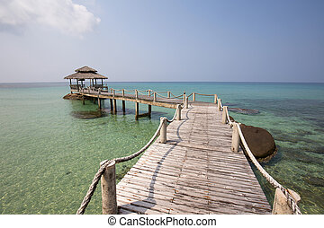 schöne,  koh,  Pier, hölzern, Insel,  kood, tropische,  Thailand, sandstrand