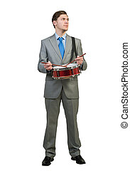 Businessman playing drums - Funny businessman playing drums...