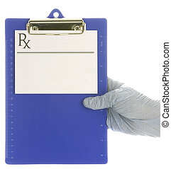 gloved hand holding medical clipboard with prescription pad