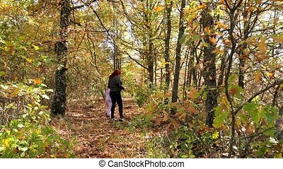 Family Is Looking For Mushrooms - A woman walks through the...