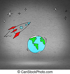 Cartoon space rocket - Illustration image with drawn on wall...