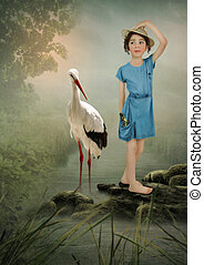 Little Girl and Crane - Little girl in the hat and the crane...