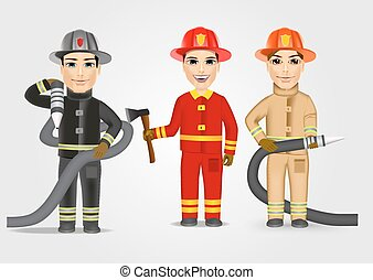 firefighters in uniform with fire hose - set of firefighters...