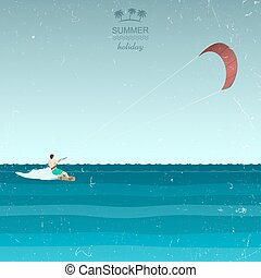 Kitesurfing illustration in retro style Kiting in the sea