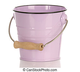 Cor-de-rosa, balde, Reflexão, isolado, branca, fundo