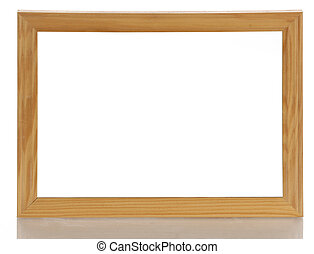 blank wooden picture frame with reflection on white background