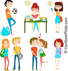happy teens - collection of happy teenagers at school