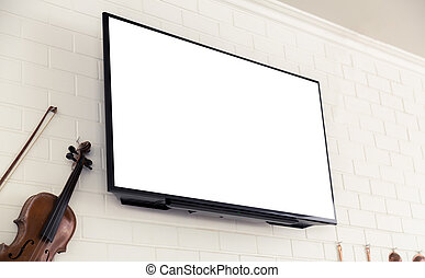 TV screen on white wall