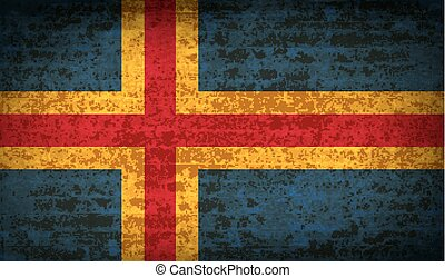 Flags Aland with dirty paper texture Vector - Flags of Aland...
