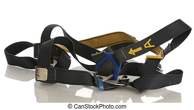 industrial safety harness equipment with reflection on white...