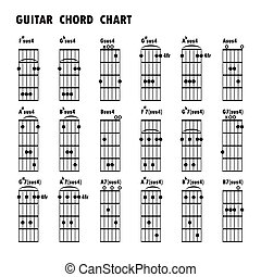 Set of music notes .Abstract musical background. Basic guitar chords ,tab guitar chords,music notes,black music note,icons set music note.