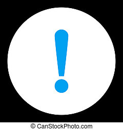 Exclamation Sign flat blue and white colors round button
