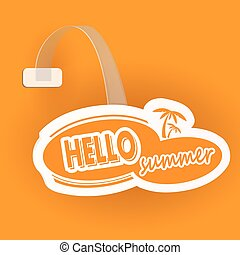 Paper orange wobbler  with celluloid stand. Vector illustration