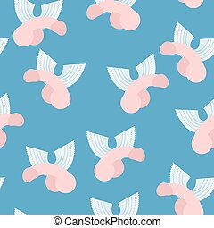 Winged penis seamless pattern. Vector background of dildos...