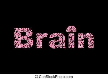 Brain. Text of texture brains. Vector illustration