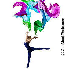 Dancer Woman Gymnastic with Flying Cloth, Girl Gymnast in Leotard Pose with Waving Fabric, isolated over White