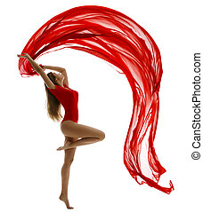 Dancing Woman in Leotard, Flying Red Cloth on White, Gymnast Girl Dance with Fabric