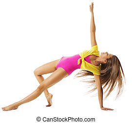 Woman Exercising Sport Gymnastic, Sexy Girl Fitness Exercise...