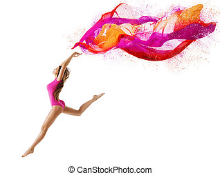 Woman Jump in Sport Leotard, Girl Dancer with Fly Pink Cloth, Gymnast Posing on White