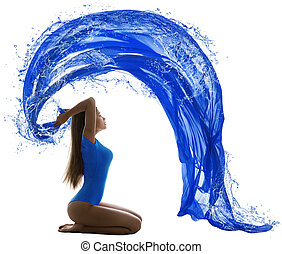 Woman Water Wave, Sexy Girl in Swimsuit Painting Blue Color...