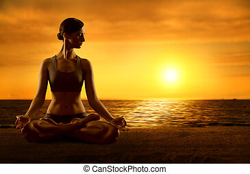 Yoga Meditating Lotus Position, Exercising Woman Meditation in Asana Pose on Sunrise