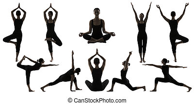 Silhouette Yoga Poses on White, Woman Asana Position...