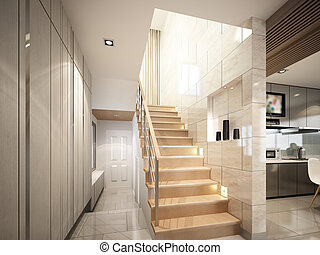 3d render of stair hall ,3dwire