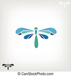 Dragonfly silhouette on light background. - Dragonfly,...