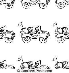 Car Convertible - Monochrome Car, seamless pattern...