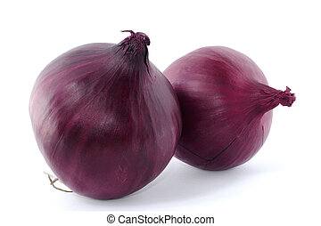Red onion - two red onions isolated on white background