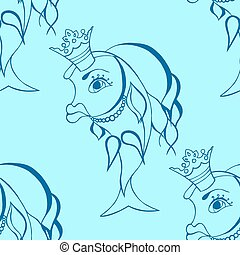 Goldfish with crown - Seamless background of Goldfish with...