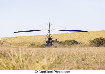 Microlight Flying Plane Airstrip - Flying microlight...