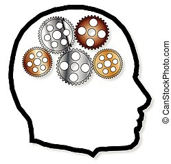 Metal Brain - A brain depicted as a series of gears and cogs