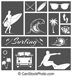 Set of black and white surfing icons