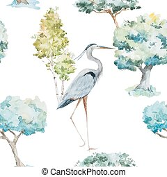 Watercolor herons and trees patterns - Beautiful vector...