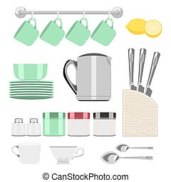 set of objects for tea