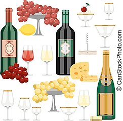 Vector set of wine and food