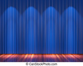 Stage with blue curtains and spotlight