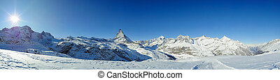 panorama from riffelberg in winter - panoramic view from...