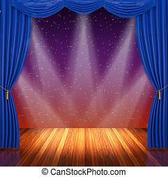 Stage with blue curtains and spotlight.