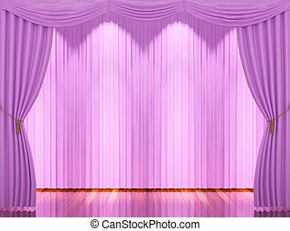 Stage with pink curtains and spotlight