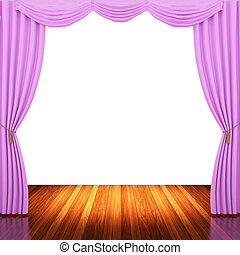 Stage with pink curtains and spotlight.