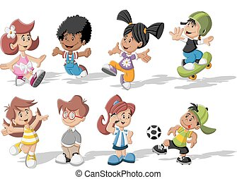 cartoon children playing