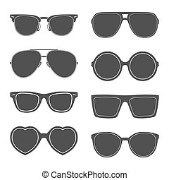Vector set of sunglasses silhouettes. EPS8 illistration.