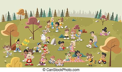 cartoon people in the park