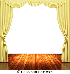 Stage with yellow curtains and spotlight