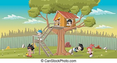 kids playing on the backyard tree - Cute happy cartoon kids...