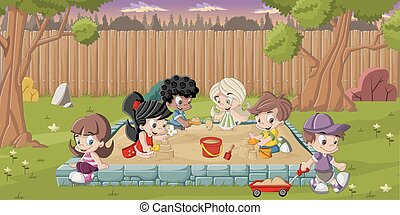 kids playing on the sandbox - Cute happy cartoon kids...