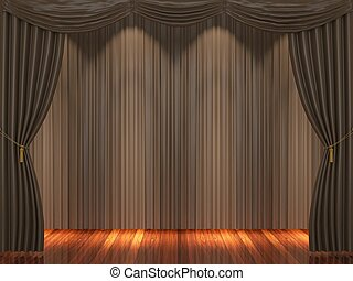 Stage with brown curtains and spotlight
