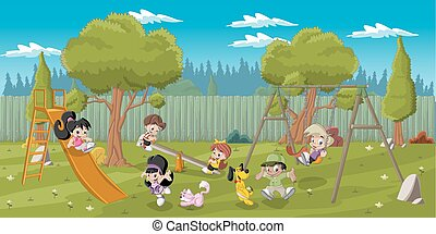 kids playing on the playground - Cute happy cartoon kids...